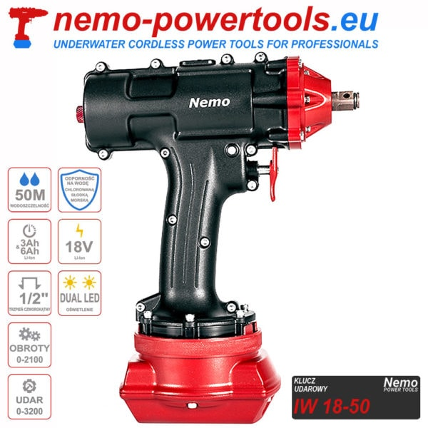 akumulatorowy klucz udarowy do prac pod wodą Nemo IW 18-50 nemo-powertools.eu