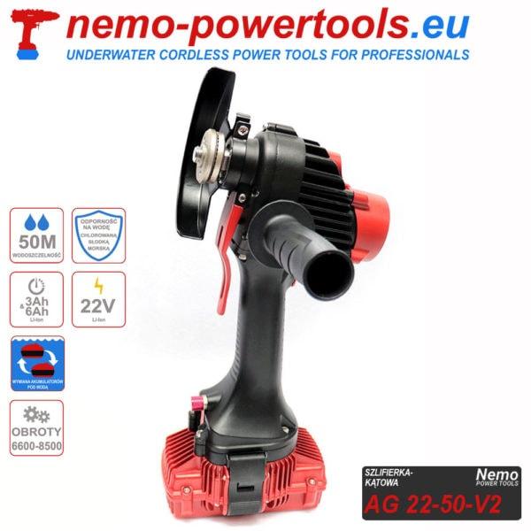 akumulatorowa szlifierka kątowa do prac pod wodą Nemo AG 22-50 nemo-powertools.eu
