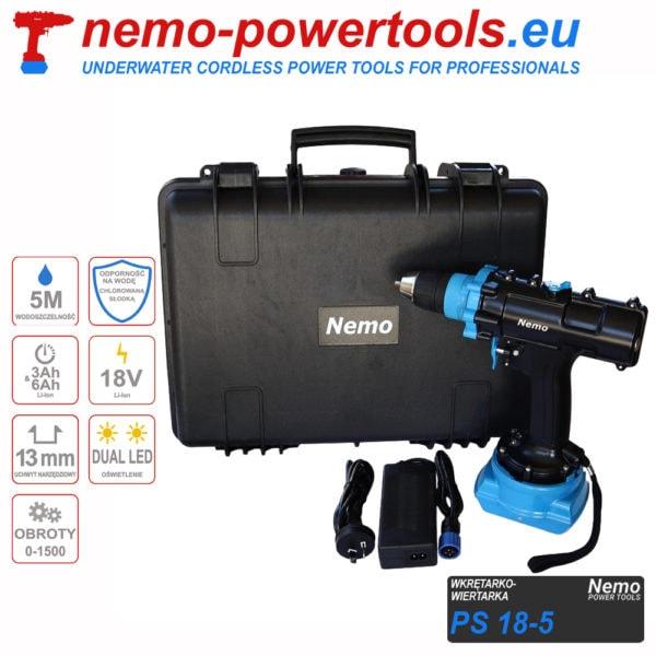 Wkrętarko wiertarka do prac pod wodą Nemo PS 18-5 Pool & Spa nemo-powertools.eu