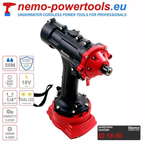 akumulatorowa zakrętarka udarowa do prac pod wodą Nemo ID 18-50 nemo-powertools.eu